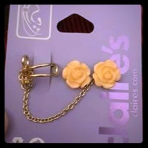 Floral Stud Earrings with Cuff Chain